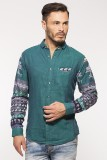 Royalion Men's Printed Casual Green Shir...