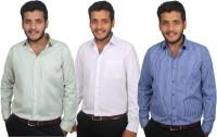 Maharaja Formal Shirts (Men's) - Maharaja Men's Checkered, Solid, Striped Formal Multicolor Shirt(Pack of 3)