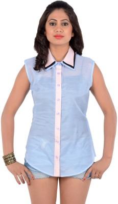 S9 Women's Solid Casual Light Blue, Pink, Black Shirt