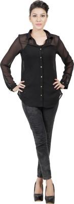 Sei Bello Women's Solid Casual Black Shirt