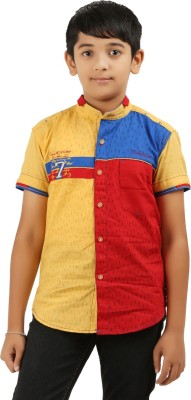 Cub Kids Boy's Printed Casual Yellow, Blue, Red Shirt