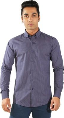 Just Differ Men's Polka Print Formal Dark Blue Shirt