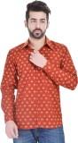 Nishiva Men's Printed Formal Orange Shir...