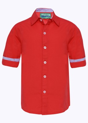 Slub Junior By Inmark Boy's Solid Casual Red Shirt