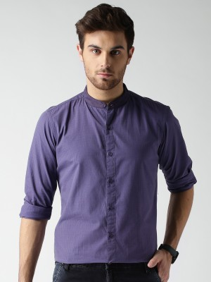 Mast & Harbour Men's Checkered Casual Purple Shirt