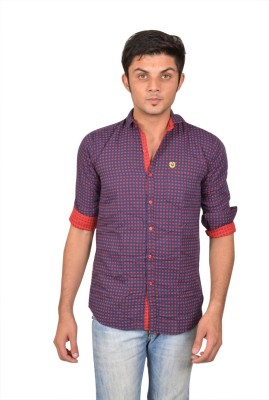 Suzee Men's Solid Casual Dark Blue, Red Shirt