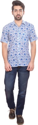 Shilpi Men's Printed Casual Blue Shirt