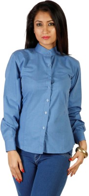 James Scot Women's Solid Formal Blue Shirt