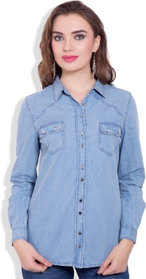 Pear Blossom Women's Solid Casual Light Blue, Blue Shirt