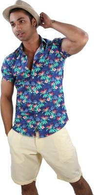 Just Differ Men's Floral Print Beach Wear Blue Shirt