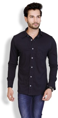 LUCfashion Men's Solid Casual Black Shirt