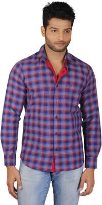 V Seven Men's Checkered Casual Blue, Red Shirt