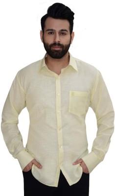 Big Brother Men's Solid Formal Linen Yellow Shirt