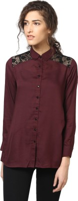 Love From India Women's Solid Casual Maroon Shirt