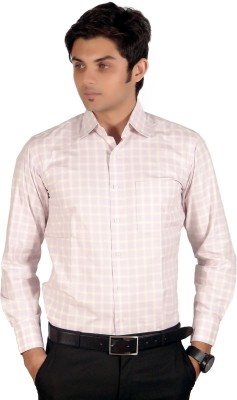 Proactive Men's Checkered Formal Pink Shirt