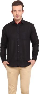 Ennoble Men's Solid Casual Linen Black Shirt