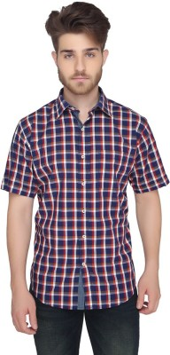 Greenfibre Men's Checkered Casual Blue, Red Shirt