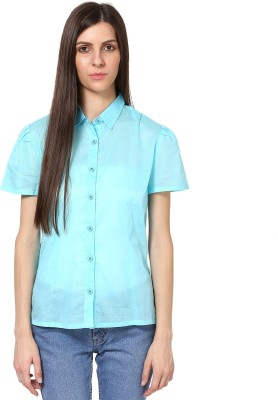 SHIBORI Women's Solid Casual Blue Shirt