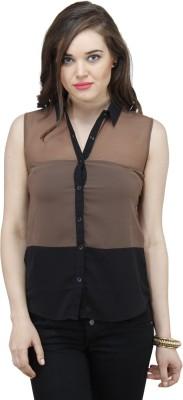 Osumfab Women's Solid Casual Beige Shirt