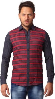 YOO Men's Striped Casual Red Shirt