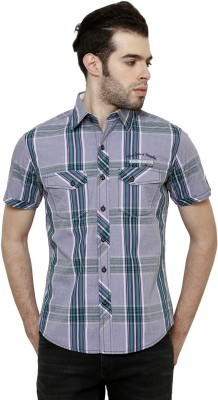 True Tittos Men's Checkered Casual Blue, Green Shirt