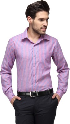 Copperline Men's Striped Casual Purple, Pink Shirt
