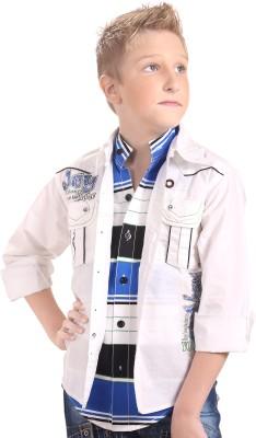 BAD BOY Boy's Striped Casual White Shirt