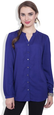 Pear Blossom Women's Solid Casual Blue Shirt