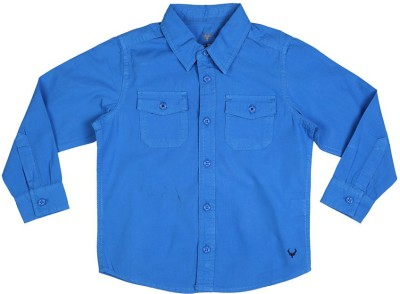 Allen Solly Boy's Solid Casual Blue Shirt