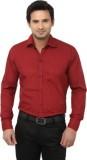 Alian Men's Solid Casual Maroon Shirt
