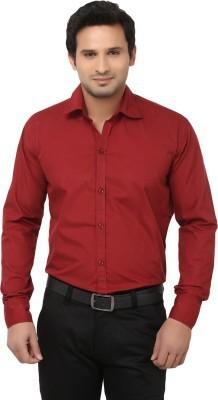 Alian Men's Solid Casual Maroon Shirt