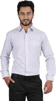 Hippoolife Men's Checkered Formal White Shirt