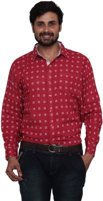 Lee Marc Men's Checkered Formal Red Shirt