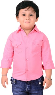 Ice Blue Boy's Solid Casual Pink Shirt