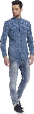 Jack & Jones Men's Checkered Casual Blue Shirt