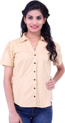 Fbbic Women's Solid Casual Brown Shirt