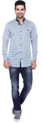 Coloroid Men's Printed Casual White, Blue, Light Blue, Black Shirt