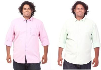 CIROCO Men's Solid Casual Pink, Green Shirt