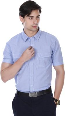 Cotton County Men's Self Design Casual Purple Shirt