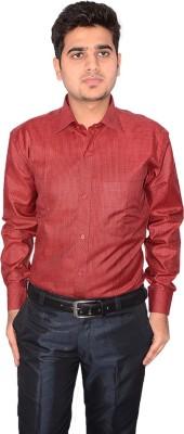 Culture Plus Men's Striped Formal Red, Black Shirt