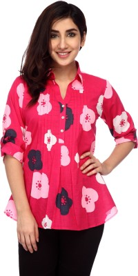 Lifestyle Retail Missy Women's Floral Print Casual Pink Shirt