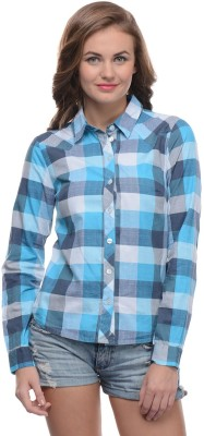 Moderno Women's Checkered Casual Blue, White Shirt