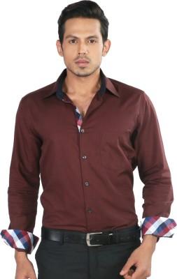 Provogue Men's Solid Formal Maroon Shirt