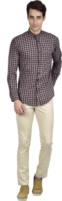 Zid Clothing Men's Checkered Casual Brown Shirt