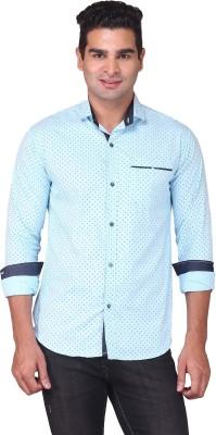 Human Steps Men's Polka Print Casual Light Blue Shirt