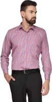 English Navy Formal Shirts (Men's) - English Navy Men's Checkered Formal Orange Shirt