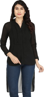 AKFASHION Women's Solid Casual Black Shirt