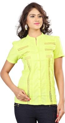 SFDS Women's Self Design Formal Green Shirt