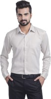 Coffee Bean Formal Shirts (Men's) - Coffee Bean Men's Striped Formal Beige Shirt