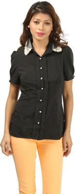 Aosta Women's Solid Casual Black Shirt